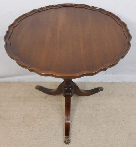 Mahogany Round Top Pedestal Tripod Table